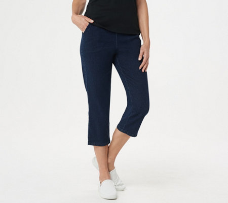 Denim & Co. Original Waist Stretch Crop Pants w/Side Pockets
