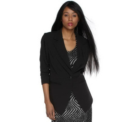 Luxe Rachel Zoe Tuxedo Jacket with Ruched Sleeve Detail