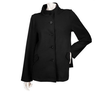 Susan Graver Soho Ponte Button Front Jacket with Long Sleeves - A203725