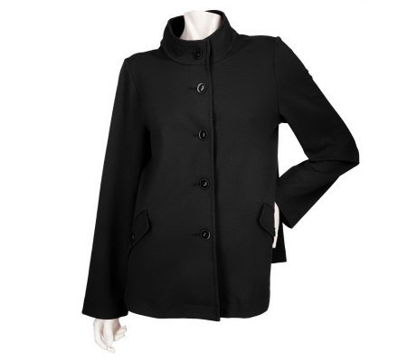 Susan Graver Soho Ponte Button Front Jacket with Long Sleeves