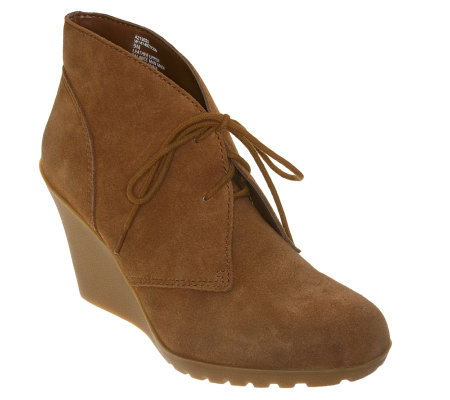 White Mountain Wedge Ankle Booties with Lace-up Detail