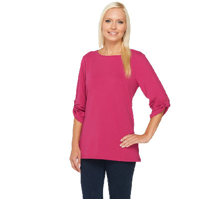 Susan Graver Weekend Brushed French Terry Roll Tab Sleeve Top