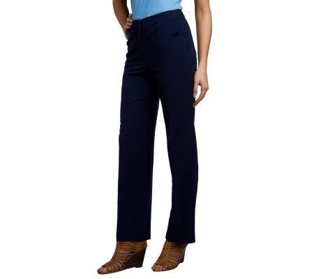 Susan Graver Chelsea Stretch Straight Leg Reg Pants with Button Detail