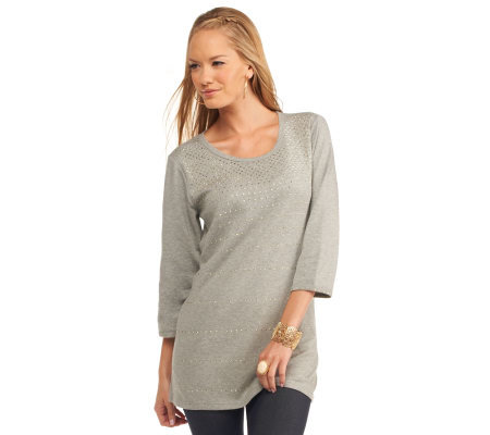 Quacker Factory Gold Rush 3/4 Sleeve Tunic
