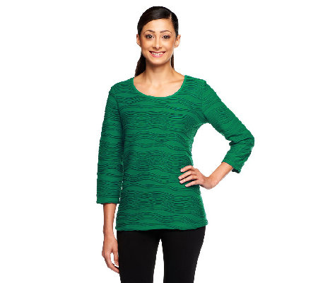 Liz Claiborne New York Scoop Neck Jacquard Textured Top