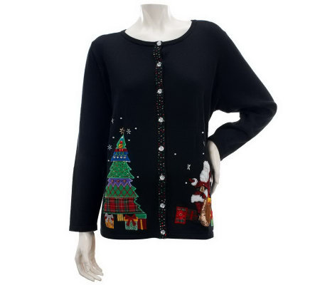 Quacker Factory Long Sleeve Christmas Santa Cardigan