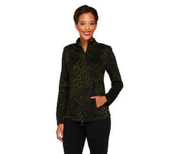 Linea by Louis Dell'Olio Animal Jacquard Zip Front Jacket - A230025