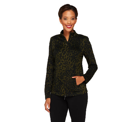 Linea by Louis Dell'Olio Animal Jacquard Zip Front Jacket