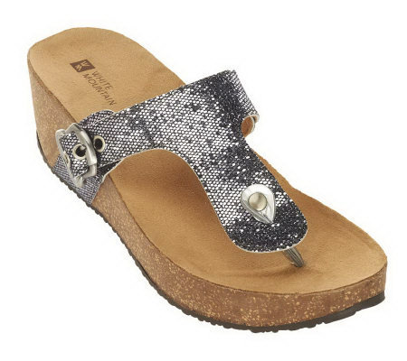 White Mountain Kingpin Thong Wedge Sandals