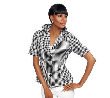 Joan Rivers Gingham Short Sleeve Signature Jacket