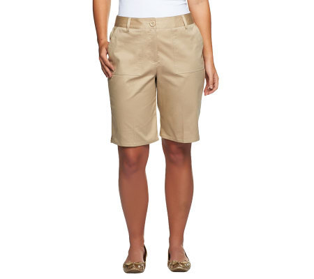 Susan Graver Weekend Washed Cotton Twill Bermuda Shorts