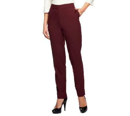 Susan Graver Chelsea Stretch Front Zip Slim Leg Pants with Pocket Detail