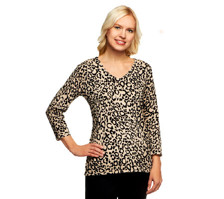 Susan Graver Weekend Printed Cotton Nylon V-Neck Sweater