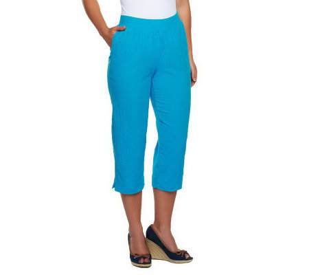 """As Is"" Susan Graver Gauze Pull-on Capri with Rib Waistband"