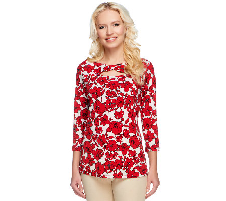 Susan Graver Printed Liquid Knit Top with 3/4 Sleeves