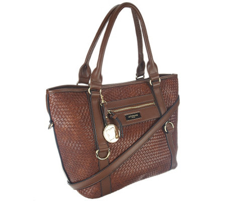 Liz Claiborne New York Basketweave Zip Pockets Tote