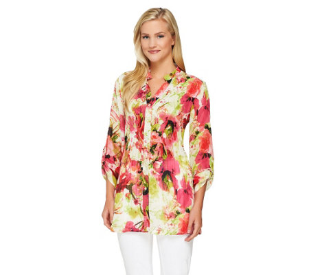 Sunny Leigh Release Pleat Printed Tunic with Roll Tab Sleeves