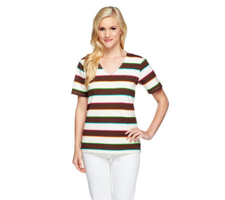 Denim & Co. Perfect Jersey Short Sleeve Multi-color Stripe Top