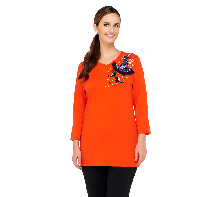 Quacker Factory Glamour Witch Hat V-neck Tunic
