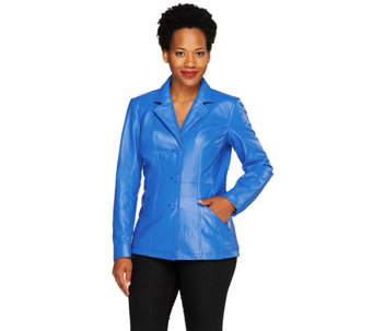 Denim & Co. Button Front Leather Blazer with Pockets - A259525