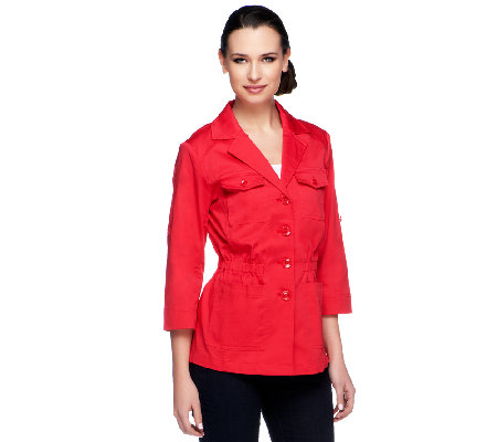 """As Is"" Joan Rivers Utility Jacket with 3/4 Roll Tab Sleeves"
