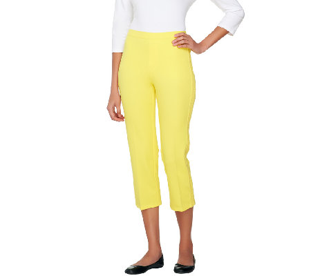 Isaac Mizrahi Live! 24/7 Stretch Crop Pants with Eyelet Detail