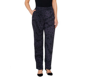 LOGO by Lori Goldstein Regular Printed Challis Pants - A261125