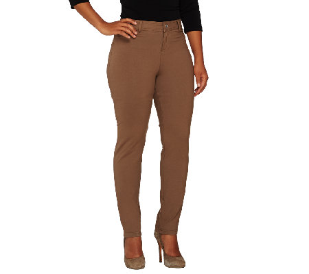 Women With Control Petite Zip Front Slim Leg Pants