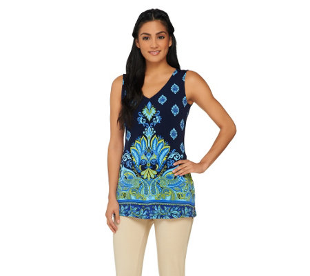 Susan Graver Border Printed Liquid Knit Sleeveless V-Neck Top
