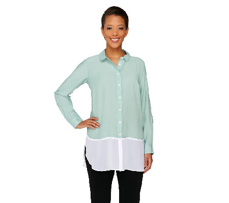 Styled by Joe Zee Button Front Boyfriend Shirt w/ Chiffon Hem