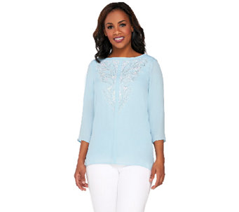 Bob Mackie's 3/4 Sleeve Sequined and Beaded Front Tunic - A263725