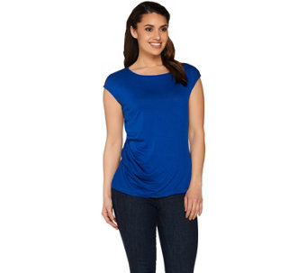 Lisa Rinna Collection Cap Sleeve Knit Top with Side Twist Detail - A264725