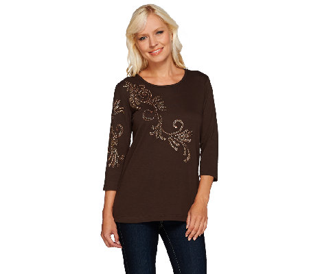 Quacker Factory Copper Crush Metallic Stud 3/4 Sleeve T-shirt