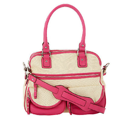 """As Is"" Aimee Kestenberg Canvas Lucy Satchel with Front Pockets"