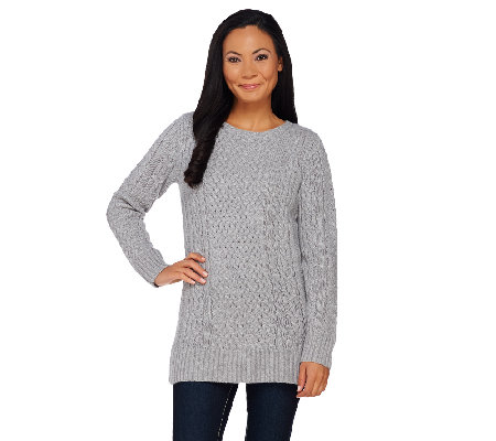 Isaac Mizrahi Live! 2-Ply Cashmere Cable Pullover Tunic Sweater