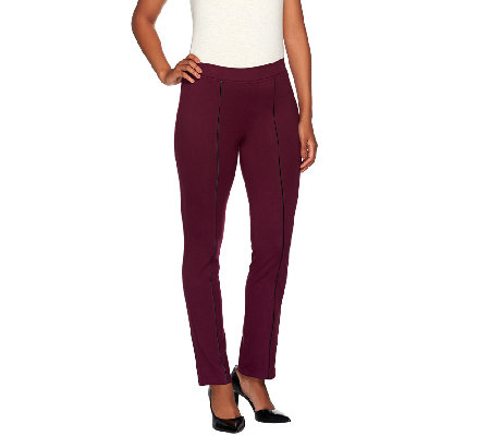 Susan Graver Weekend Cotton Spandex Leggings w/Faux Leather Piping
