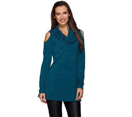 Attitudes by Renee Cold Shoulder Cowl Neck Knit Tunic