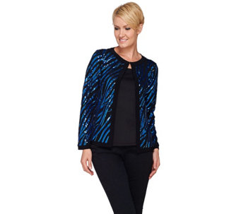 Bob Mackie's Long Sleeve Jewel Neckline Sequin Jacket - A271125