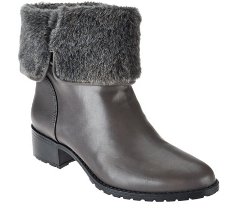 H by Halston Leather Ankle Boots with Faux Fur - Caroline