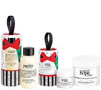 philosophy renewed hope moisturizer 4oz w/ 2 holiday gift ornaments - A273125