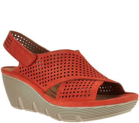 Clarks Artisan Suede Perforated Wedges - Clarene Award