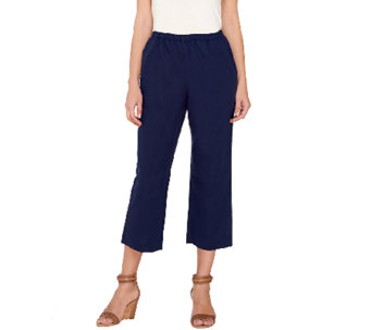 """As Is"" Susan Graver Linen Blend Wide Leg Crop Pants - A274825"