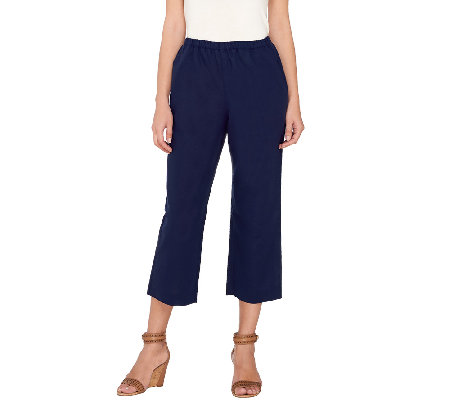 """As Is"" Susan Graver Linen Blend Wide Leg Crop Pants"
