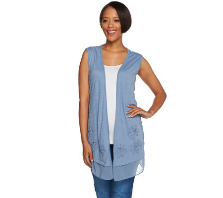 LOGO by Lori Goldstein Cotton Slub Knit Vest with Embellishment
