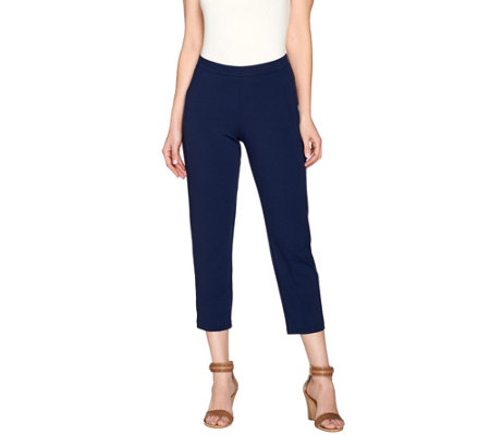 Susan Graver Dolce Knit Comfort Waist Forward Seam Crop Pants