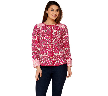 Isaac Mizrahi Live! Watercolor Damask Print Knit Jacket