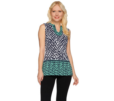 Susan Graver Printed Liquid Knit Sleeveless V-neck Top