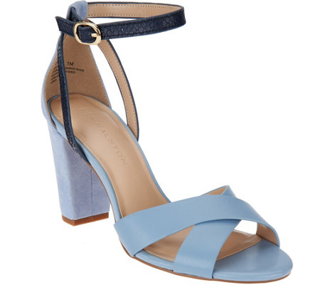 H by Halston Leather & Suede Strappy Block Heel Sandals - Kaelyn