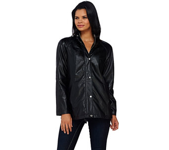"""As Is"" Dennis Basso Faux Leather A-Line Jacket Raglan Sleeves - A277325"