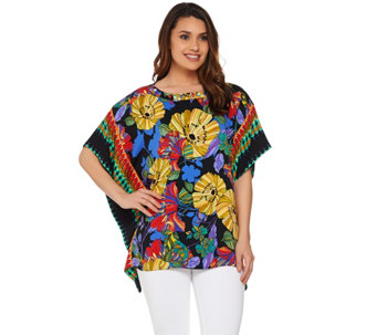 Susan Graver Artisan Embellished Printed Woven Scarf Top - A277825